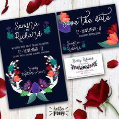 Rustic Wedding Kit - navy blue and flores theme - Printable and customizable set / kit de HelloPonyWorld en Etsy