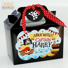 These playful personalised party boxes are perfect for your birthday party. Fun and cute they will brighten up any celebration. Pirate Party Favors, Pirate Theme, Party In A Box, For Your Party, Party Fun, Orange Paper, Pirate Skull, Party Banners, Party Themes