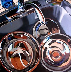 Kitchen Sink by Liz Gembarski; why doesn't my kitchen sink ever look so pretty? Painting Still Life, Still Life Art, Sink Drawing, Kitchen Art, Kitchen Sink, Reflection Art, Art N Craft, Gcse Art, Light Art