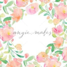 Watercolor Frame Background. Pink Flower Frame With Hand Painted Flowers