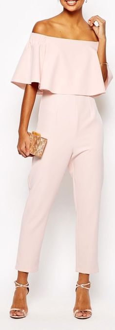 Chic blush ruffle jumpsuit, with nude strappy heels and a gold, print clutch.