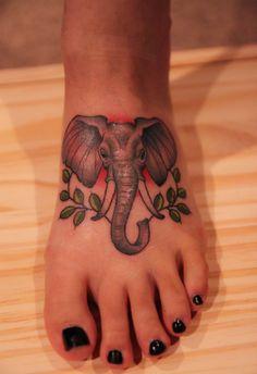 Elephant tattoo.