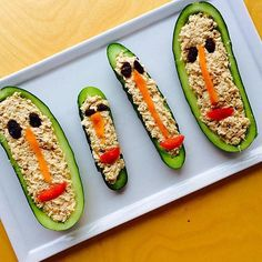 Playing with your food? Yep, we're guilty of it. How do you turn our #WildlyGood tuna into a work of art in the kitchen? @ag_thefreshtable made an entire family of cucumbers and dressed them up with sustainably caught Wild Planet tuna!