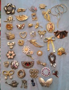 Vintage Brooch Pin Lot of 40 Some Signed are  Gerrys, Avon, BSK #Variety #brooch #avon #jewelry #avon #gerrys #vintage #ebay #shopping