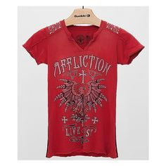 Affliction Kratos T-Shirt ($58) ❤ liked on Polyvore featuring tops, t-shirts, red, red t shirt, graphic design tees, affliction tees, graphic design t shirts and graphic print tees
