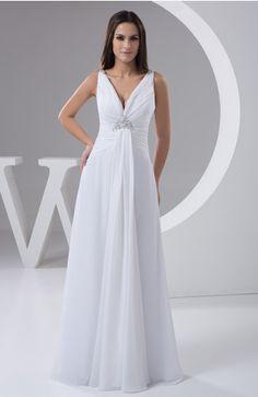 White Casual Wedding Dress Beach Hourglass Formal Garden Fall Full Figure Amazing - iFitDress.com