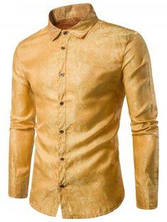 b3a33aa7 Casual Long Sleeve Paisley Vintage Shirt - GOLDEN BROWN L Silk Shirts, Men  Shirts,