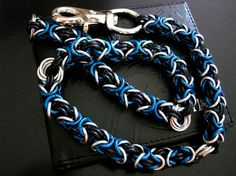 Wallet Chain 22 Chainmaille Silver Blue Black by JSWALLETCHAINS