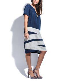 Navy Blue Zigzag Linen Shift Dress