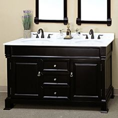 Add a stylish touch to your bathroom with this 60-inch vanity set from Bellaterra. An espresso finish and white marble counters highlight this two-sink vanity.   http://www.overstock.com/Home-Garden/Bellaterra-Home-Espresso-60-inch-Vanity/7009308/product.html?CID=214117 $1,499.99