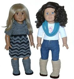 Mini Sweater Boots - PDF Crochet Pattern to fit American Girl Dolls.