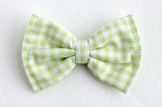 Boys Bow Tie Light Green Gingham Dot Newborn by lollyludesigns, $6.95