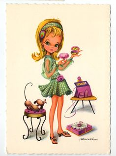 Vintage post card 70s by Fracassi. Pretty girl is ready to go out.