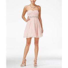 26b2ec81b2aee Trixxi Juniors' Strapless Embellished Empire-Waist Dress ($36) ❤ liked on  Polyvore