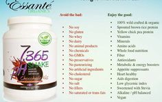 Essante Organics Alkalizing, Organic & Toxic Free Protein Shake. The Health benefits of this are endless!