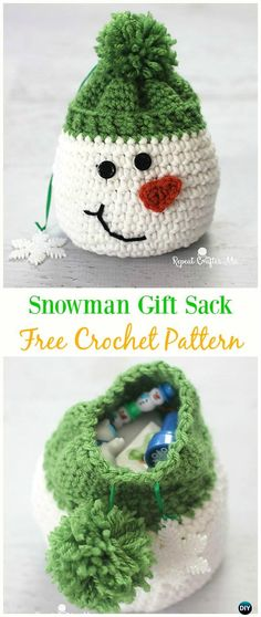 Snowman Gift Sack Bag Free Crochet Pattern -#Crochet Drawstring #Bags Free Patterns