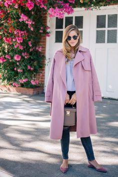 9.16 dusty rose (Theory wool-cashmere trench coat in pink willow + Jenni Kayne top + Frame Denim jeans + Paul Andrew 'rhea' suede flats in turkish rose + Mark Cross 'benchley' bag in mink pebble)