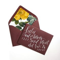 Wow your guests before they even arrive by presenting your invitations in these beautifully calligraphed envelopes with colors and coordinating liners of your choice. Each name and address is handwritten in a modern, whimsically elegant calligraphy style using your selected ink shade. These paper pretties come assembled and ready to mail. After tucking in your invites, simply seal, stamp, and ship!