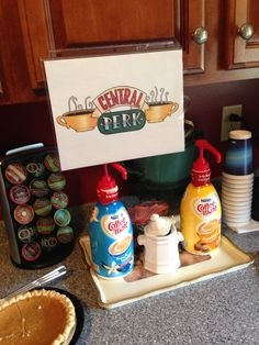 """NY Wedding Shower...""""Central Perk"""" coffee station with Keurig and creamers"""