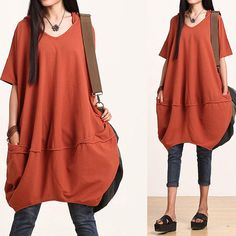 Orange bat sleeve hooded dress / casual loose cotton wild  Dress