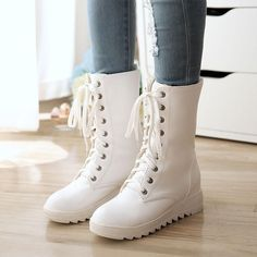 Womens Military Block High Heel Lace Up Combat Shoes Mid Calf Punk Boots Juus Black And White Shoes, White Boots, Lace Up Boots, Mid Calf Boots, Ankle Boots, Punk Boots, Fresh Shoes, Casual Boots, Casual Wear