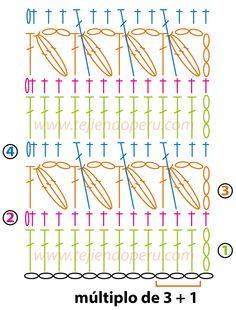 Punto fantasía tejido a crochet con puntos piñas y varetas cruzadas