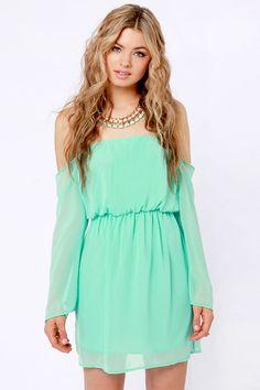 Cute Off-the-Shoulder Dress - Mint Green Dress - $41.00