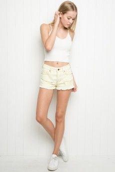 High-Rise Distressed Denim Shorts