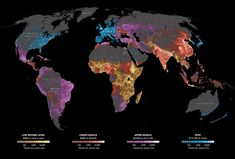Where the world's 7 billion live.... This National Geographic map illustrates where and how the world lives. Not surprisingly, the areas with the highest income levels have greater life expectancy (77 for males, 83 for females compared to 58 and 60 in low income levels), access to improved sanitation (99 percent compared to 35 percent), among other human security factors. The need for development is critical in sub-Saharan Africa, where nearly 1 billion people live, many on $995 or less a year.