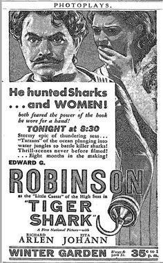 New York Times, 22 Sep Tiger Shark with Edward G. Tarzan, New York Times, Vintage Advertisements, Shark, Portugal, Ocean, Movies, Films, The Ocean