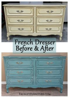 Sea Blue French Dresser ~ Before & After. Find more painted, glazed & distressed inspiration on our Pinterest boards, or on the Facelift Furniture DIY blog.