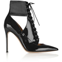 Gianvito Rossi Lace-up patent-leather ankle boots (660 AUD) ❤ liked on Polyvore featuring shoes, boots, ankle booties, heels, ankle boots, black, black high heel booties, black lace up booties, lace up high heel booties and black heel boots