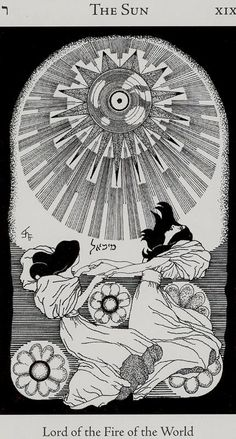 The Sun - Hermetic Tarot Deck by Godfrey Dowson. This card symbolizes one of the stages of the Fool's Journey towards self-discovery. The Fool stands for all of us. Hermetic Tarot, Tattoo Sonne, The Sun Tarot Card, Art Nouveau, Tarot Major Arcana, Design Graphique, Oracle Cards, Tarot Decks, Archetypes