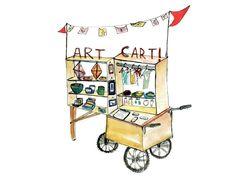 art cart perfection Art Cart, Mobile Art, Baby Strollers, Museum, Children, Fun, Airstream, Breakfast, Ideas