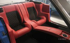 Custom Back/Interior seats of 1966 Ford Mustang Convertible. Custom Car Interior, Car Interior Design, Truck Interior, Interior Concept, Automotive Design, Camaro Interior, Mustang Interior, Car Interior Upholstery, Automotive Upholstery