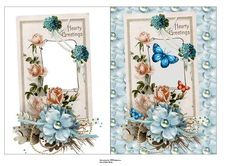 roses card and insert on Craftsuprint designed by Cynthia Berridge - roses card and insert - Now available for download!