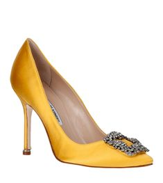 MANOLO BLAHNIK  Hangisi satin pump yellow  $965 USD