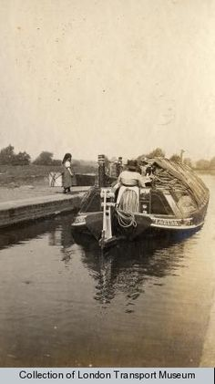 """A canal barge on the canal at Uxbridge. Photographed by Kodak, 1920 - 1925"""