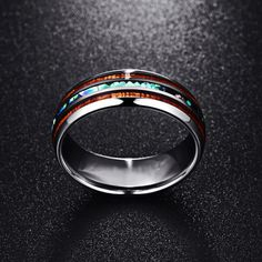 Polished Tungsten Matte Abalone Carbide Ring For Men. #jewelry #ringformen