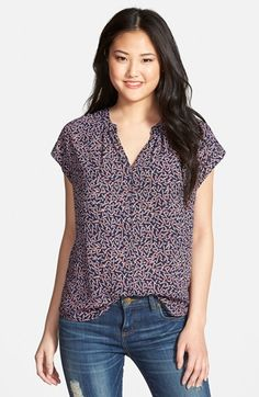 I like the cut. Pleione Split Neck Top (Regular & Petite) (Nordstrom Exclusive) available at #Nordstrom