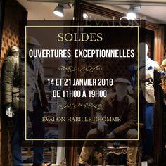 #ModeHomme #Paris. J-2 avant les #SOLDES ! Ouvertures exceptionnelles de votre magasin Evalon les dimanches 14 et 21 janvier 2018 de 11h00 à 19h00.   #VêtementsHomme #Sentier.