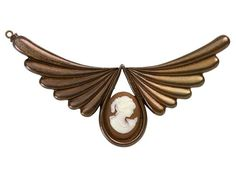 Antique Copper Angel Wings Clasp with Orange and White Cameo