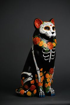 """La Catrina"" of the Tails of the Painted Cats, 2015 Cat Care Society fundraiser. To be auctioned off October 10, 2015."