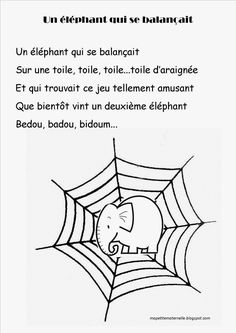 Comptine #16 Un éléphant - Ma petite maternelle French School, French Class, French Lessons, Spanish Teacher, Preschool Kindergarten, Preschool Activities, Teaching French Immersion, Father Songs, Poems