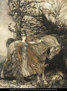 Arthur Rackham - Brunhilde with her horse at the mouth of the cave