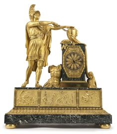 An Empire ormolu and marble large mantle clock attributed to Pierre-François Feuchère circa 1810 depicting Achilles swearing revenge at the remains of Patroclus