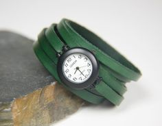Leather Watch Little Green Wrap Around Watch by tafurious on Etsy