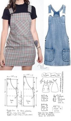 Skirt Patterns Sewing, Clothing Patterns, Fashion Sewing, Diy Fashion, Sewing Clothes, Diy Clothes, Costura Fashion, Denim Crafts, How To Make Clothes