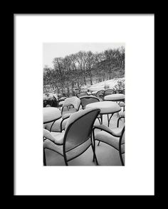 Snow Covered Chairs Framed Print by Dave Beckerman New York Photography, Photography For Sale, Nyc Photographers, Hanging Wire, Central Park, Chairs, Framed Prints, Snow, Cover