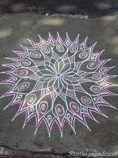 Free hand design kolam done bySanthi jagadesan